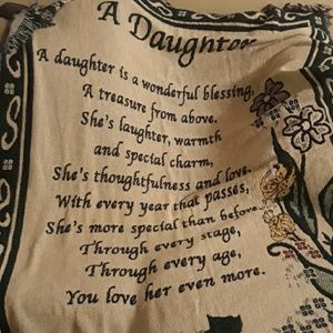 Daughter tribute tapestry throw blanket.